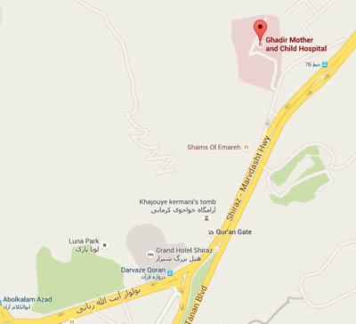نقشه هوایی بیمارستان مادر و کودک غدیر